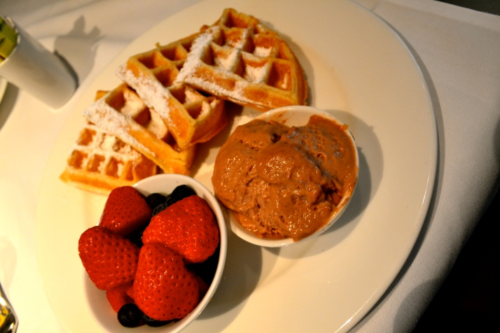 Belgian waffles with chocolate and berries.